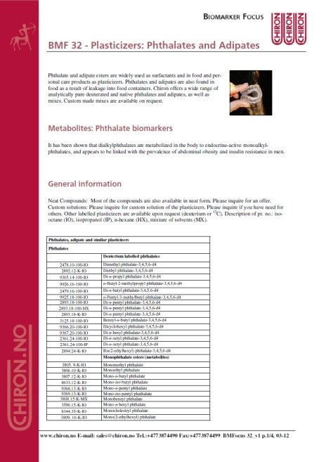 BMF 32 - Plasticizers: Phthalates and Adipates