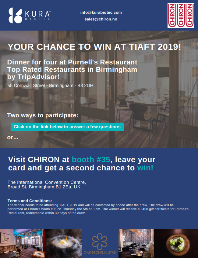 Win a FREE Michelin * Dinner at TIAFT2019!